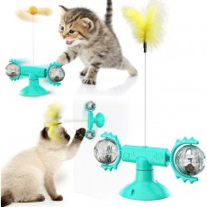 Meow Planet Puzzle Turntable Teasing Windmill Cat Toy with Interactive Feather and Ball Rod Catnip for Funny Kitten with Suction Cup