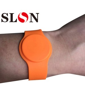 14443A  1K Adjustable Blue Orange Color Silicone Material  Wristband Rfid Bracelet Rfid Wristband