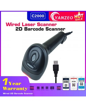 Yanzeo C2000 Wired 1D/2D Laser Barcode Scanner 2.4G Handheld Reader Bar Code Scanner For POS System Warranty 12 Months