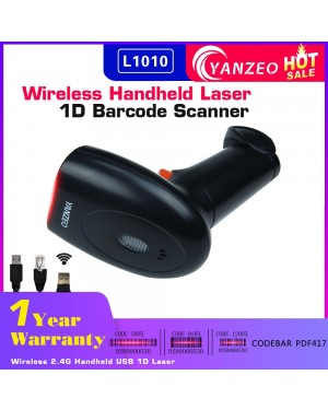 Yanzeo L1010 Wireless 1D Barcode Scanner 2.4G Handheld 1D Laser Barcode Scanner USB 2.4G Laser Bar Code Reader For POS System Warranty 12 Months